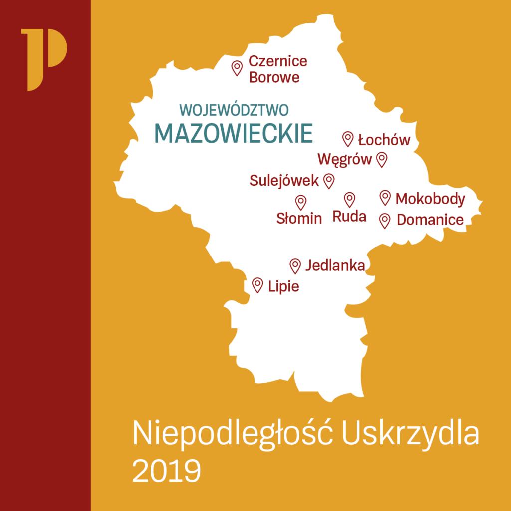 mapa akcji Niepodległość uskrzydla - edycja 2019
