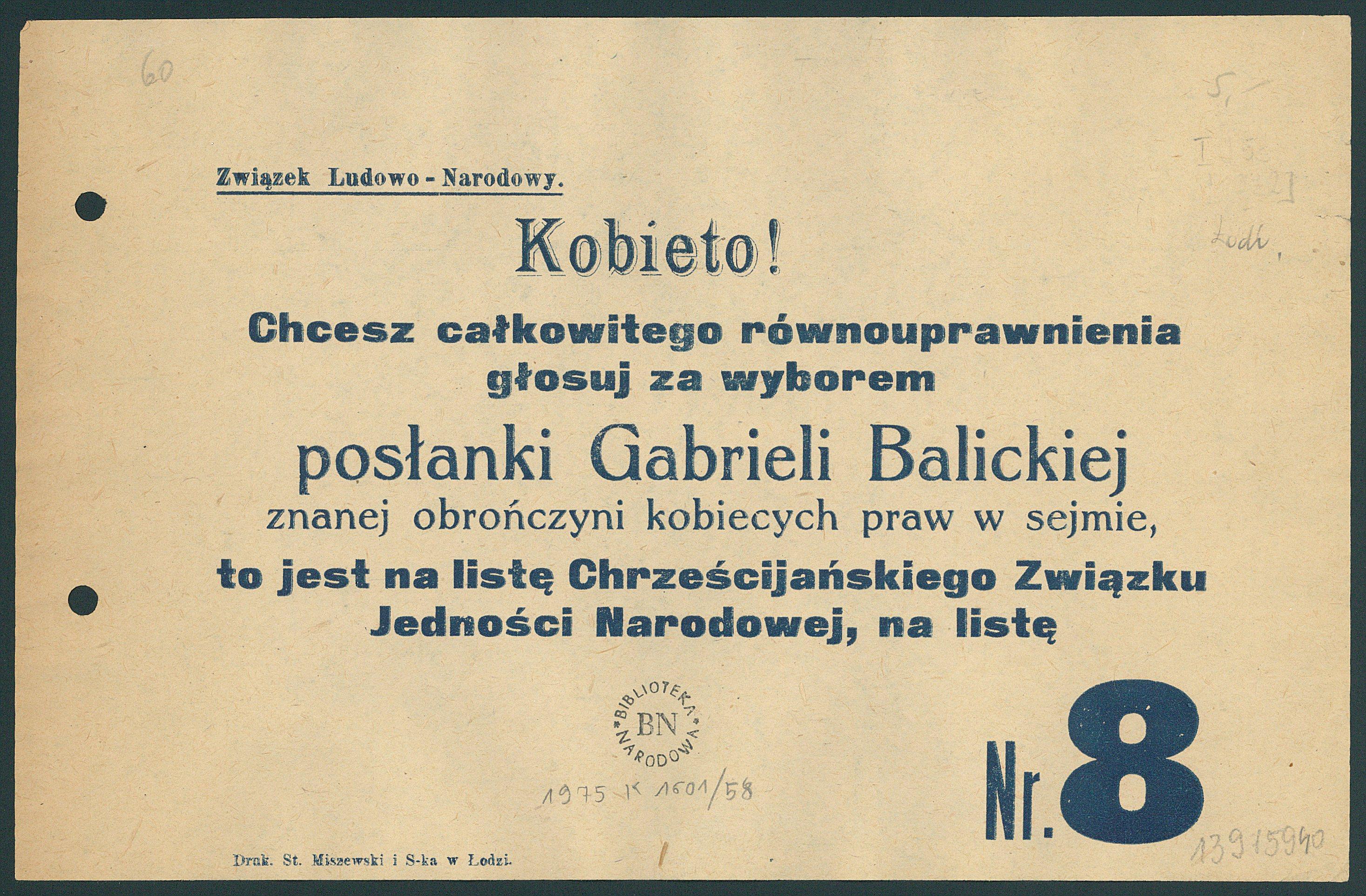 Plakat wyborczy z 1922 r. Gabrieli Balickiej-Iwanowskiej, działaczki Narodowej Demokracji, Biblioteka Narodowa