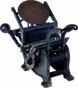 maszyna drukarska, tzw. bostonka ze zbiorów Muzeum Piłsudskiego