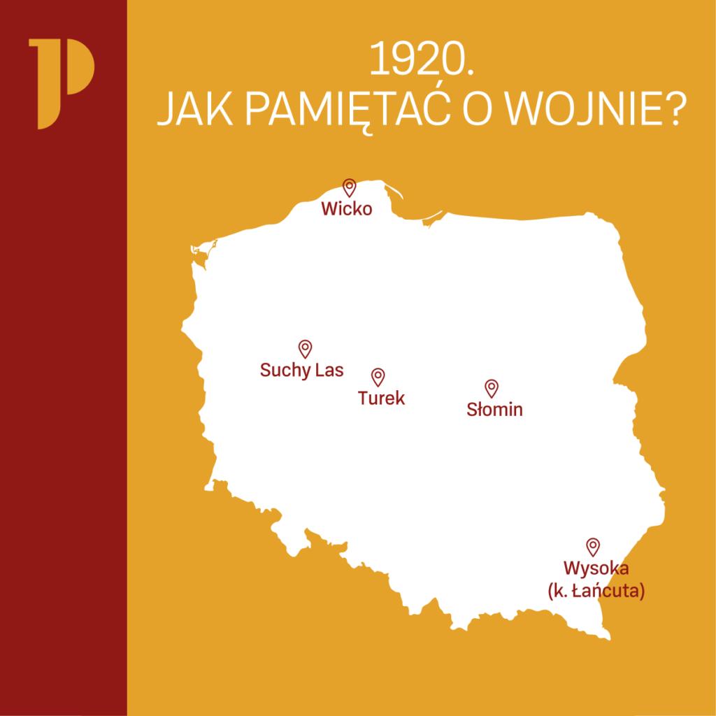 """poglądowa mapa przedstawiająca położenie miejscowości, z których szkoły biorą udział w projekcie """"1920. Jak pamiętać o wojnie?"""""""