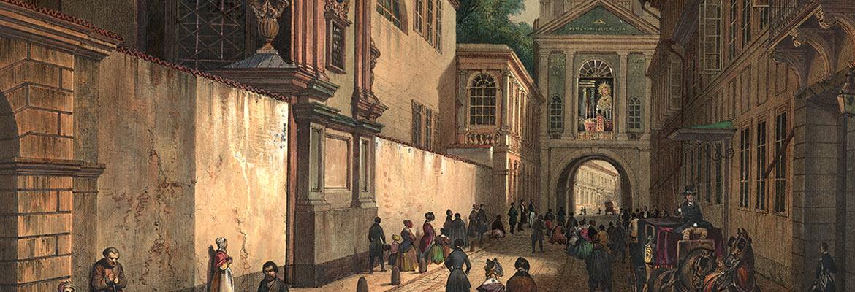 Widok na ulicę Ostrobramską w Wilnie, w głębi widać obraz Matki Boskiej Ostrobramskiej, malował Jean Victor Adam