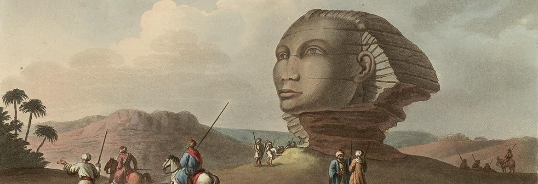 Rysunek przedstawiający głowę starożytnego monumentu Sfinksa (ok. 1801 r.)