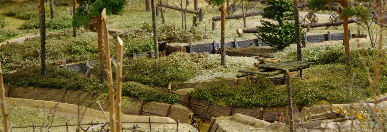 fragment makiety ukazującej miejsce bitwy pod Kostiuchnówką. Makietę można oglądać na wystawie stałej Muzeum Józefa Piłsudskiego w Sulejówku
