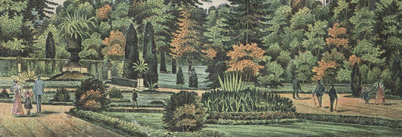 Kolorowa rycina przedstawiająca ogród we Lwowie, XIX w.