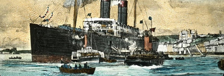 Rysunek parowca wpływającego do portu