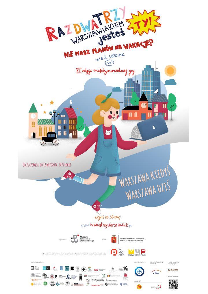 plakat akcji: rysunek w stylistyce dziecięcej  przedstawiający biegnącą dziewczynkę na tle budynków z różnych epok