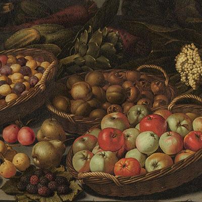 różne owoce w koszach - obraz flamandzki z XVII wieku