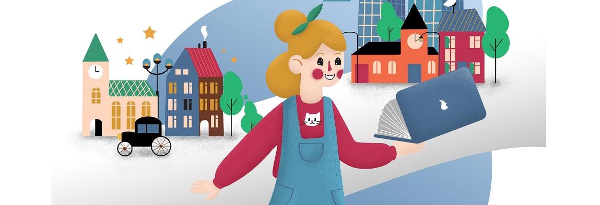 fragment plakatu akcji: rysunek w stylistyce dziecięcej  przedstawiający biegnącą dziewczynkę na tle budynków z różnych epok