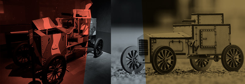 Pancerny Ford z 1920 r. z wystawy stałej Muzeum oraz jego drewniany model (dwa zdjęcia)