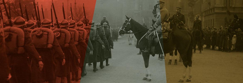 Józef Piłsudski dosiadający Kasztanki przyjmuje defiladę w Warszawie