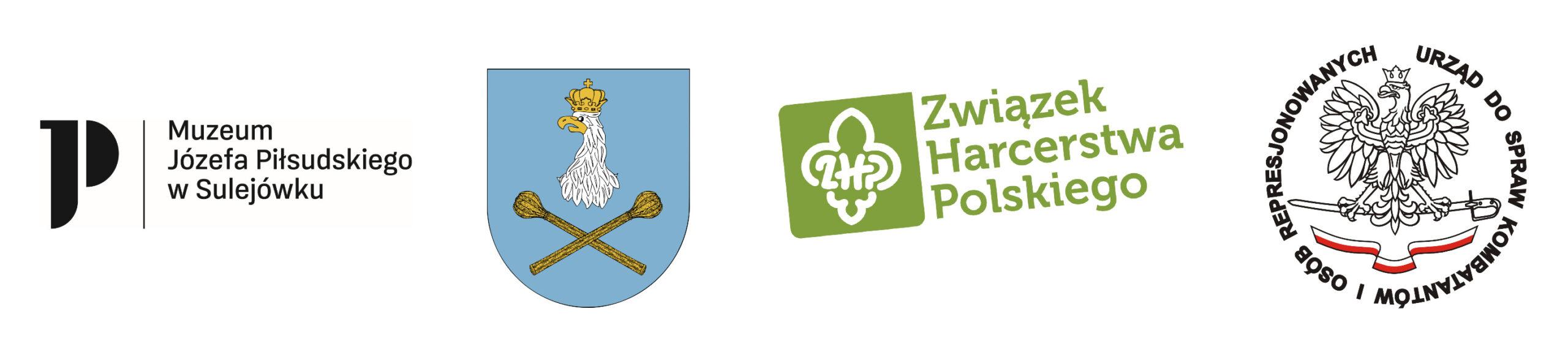 Logotypy: Muzeum Józefa Piłsudskiego w Sulejówku, Sulejówek (herb), Związek Harcerstwa Polskiego, Urząd do spraw kombatantów i osób represjonowanych